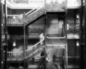 Bradbury Building staircase, fantastic cinematography.