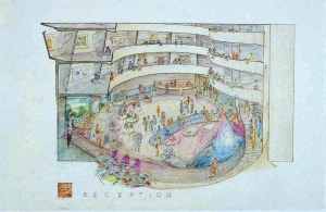 Wright's rendering of the interior.
