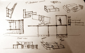 Initial design concepts, getting a feel for the arrangement of space.