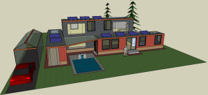 Front view of home, including a carport with redwood posts and acrylic panels.