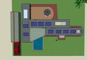 Plot view showing arrangement of containers.