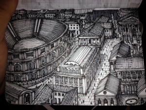 I am fascinated by Roman art and architecture. This is a fantasy view of some Roman metropolis.