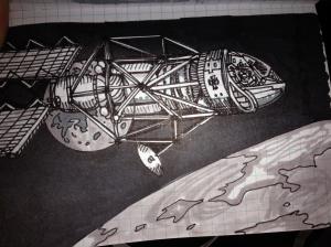 A spaceskiff orbiting a new world.