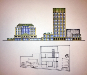 This second pass shows an expanded tower with room of general office leasing, echoing color-schema in the surrounding buildings.