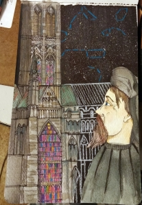 Geoffrey Chaucer in pen and ink, watercolor, and colored pencil