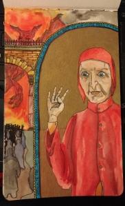 Dante Alighieri in pen and ink, watercolor, and colored pencil.