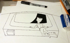 Initial pencil drawing is outlined in black ink.