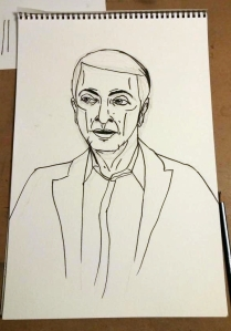 Pencil and ink outline
